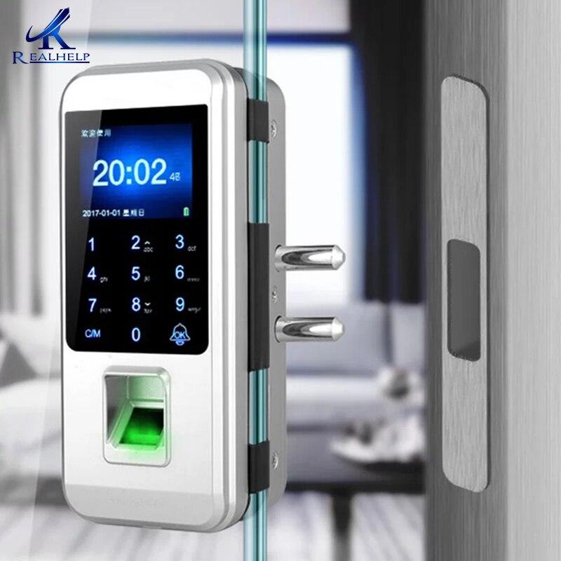 Impressão digital fechadura da porta de vidro fechadura eletrônica fechadura da porta de impressão digital inteligente fechadura da porta de toque cerradura inteligente