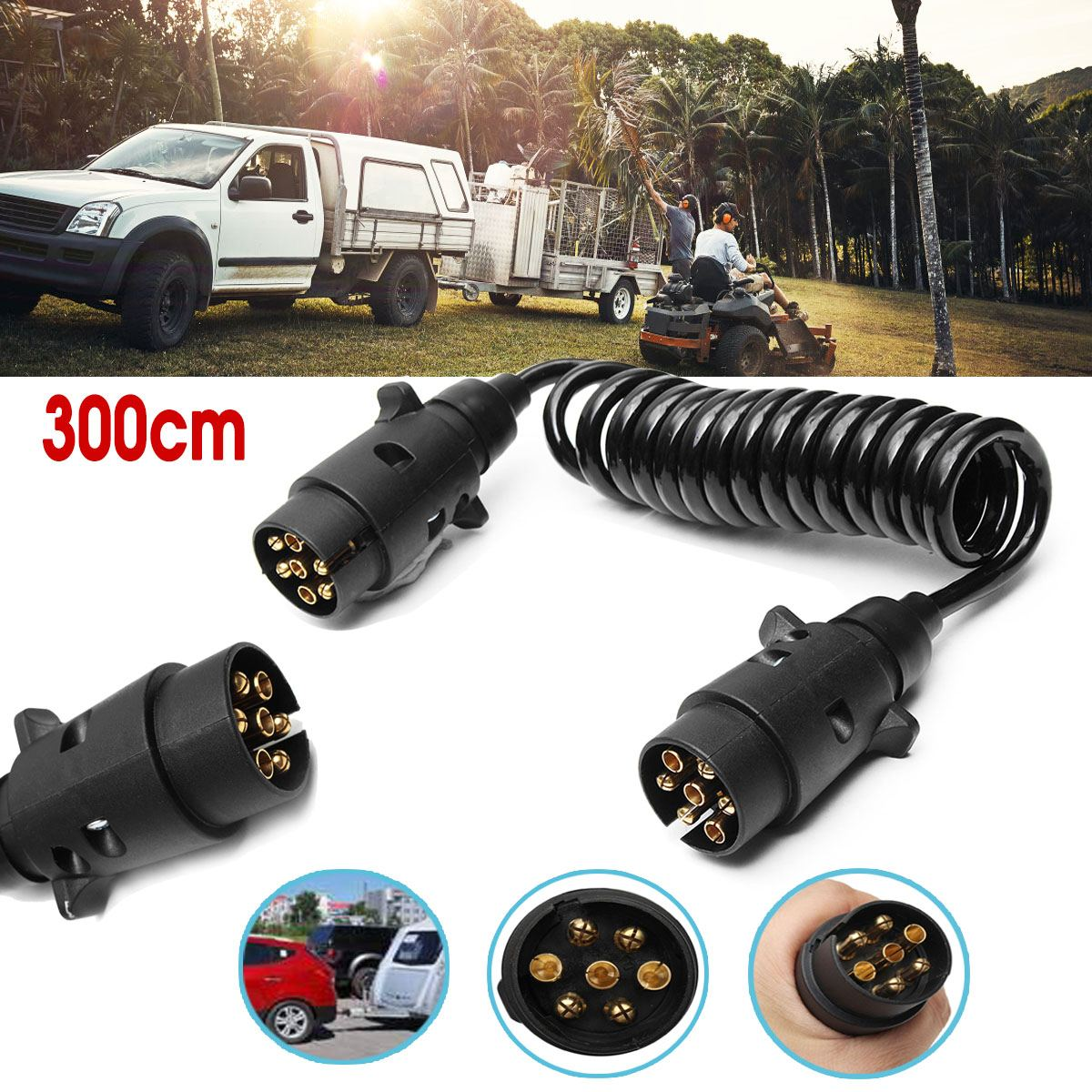 300cm 3M 7 Pin Trailer Light Board Extension Cable Lead Truck Plug Socket Wire Part