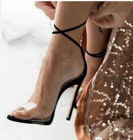 Moda La As as Pictures Correa Lace De Stiletto Altos Las Transparente Tacones Vestido 2019 Pictures Peep Tobillo Sandalias Pu Cuero Zapatos Toe Abesire Mujer Mujeres EqCx0w1g