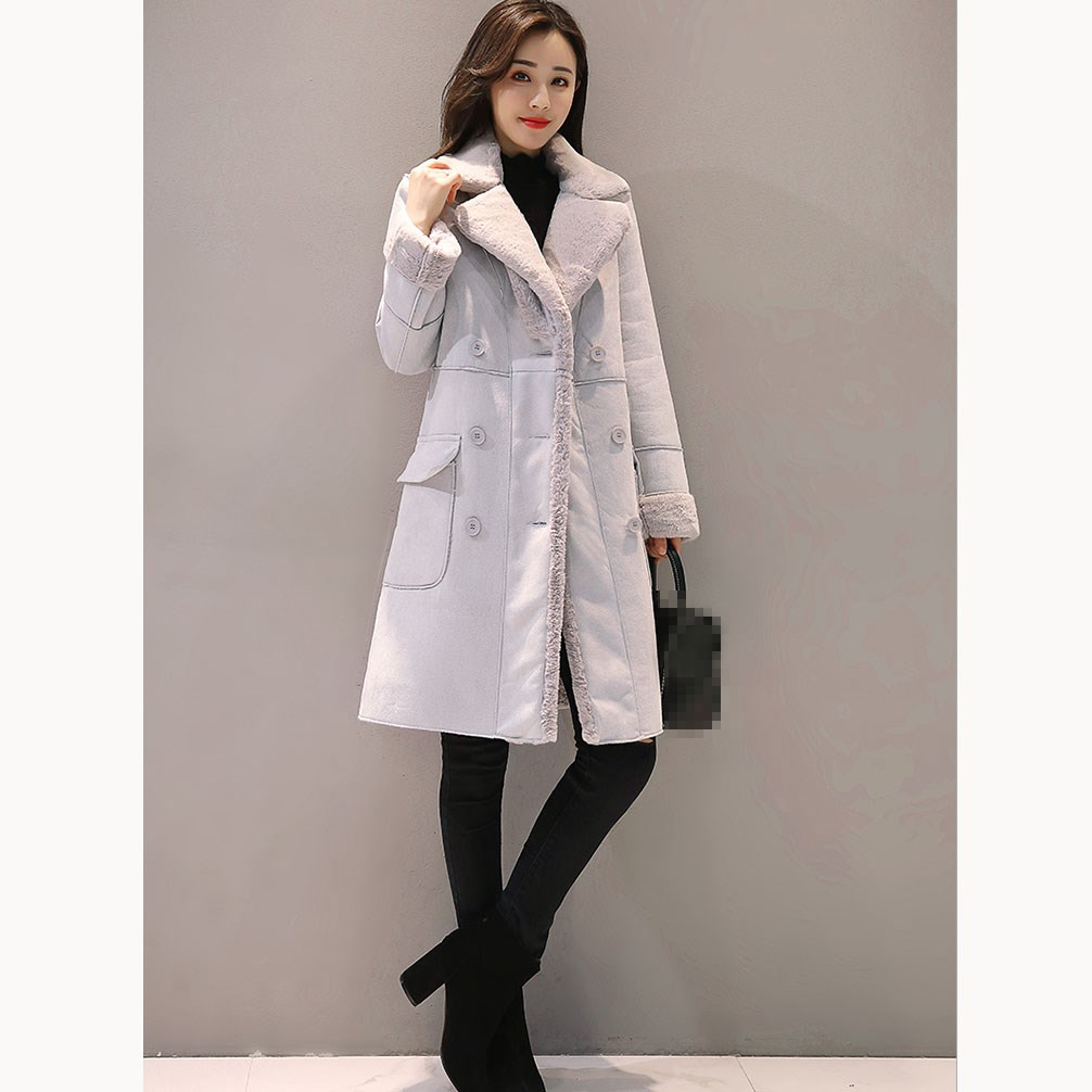 2019 Spring Women Long Faux   Suede   Coats Thick Long Sleeve Faux   Leather   Jackets Button Female Turn Down Collar Lambs Warm Coats
