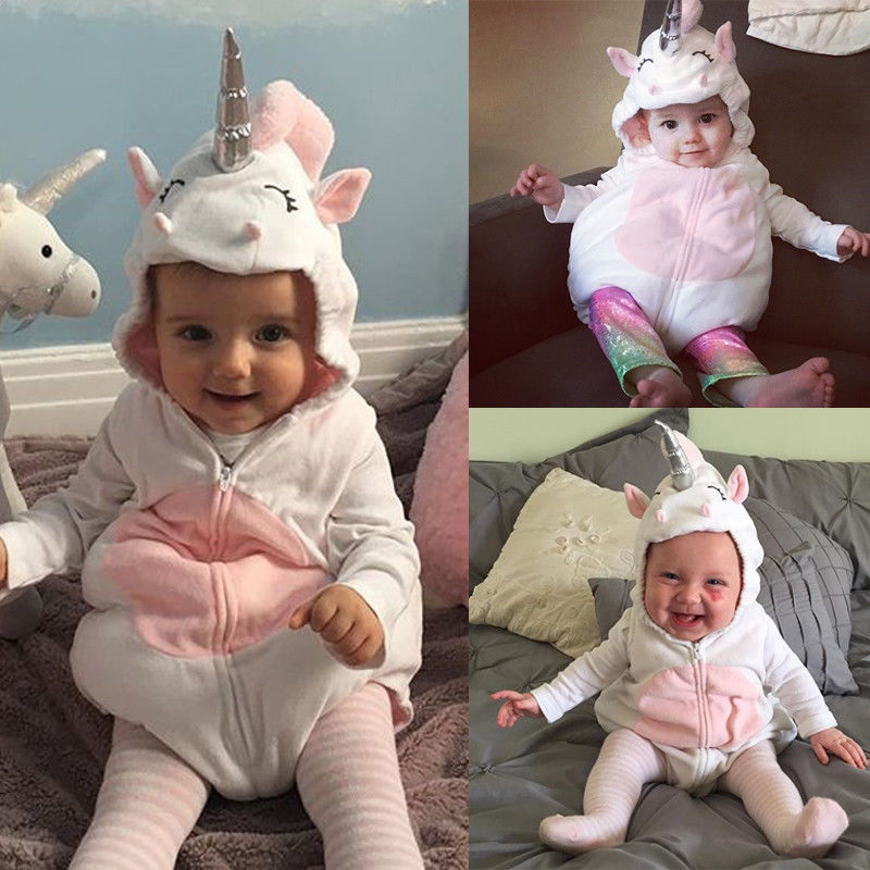 PUdcoco Girl Jumpsuits Costume Newborn Baby Girls Unicorn   Romper   Jumpsuit Jumper Outfits Hooded Clothes