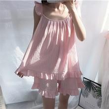 2019 Summer Sleep Lounge Women Pajamas Set With Shorts Cute Cotton Pyjama Sleepwear Femme Sleeveless Princess Pijama