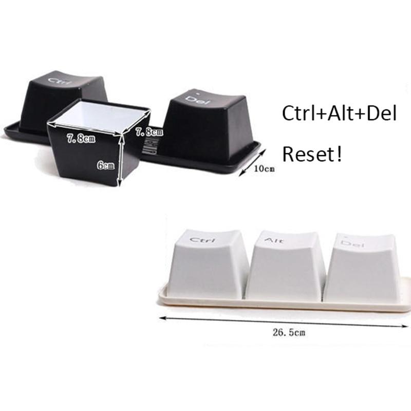 3Pcs/Set Novelty Creative Simple Keyboard Ctrl Alt Del Type Tea Coffee Mug  Cup Container