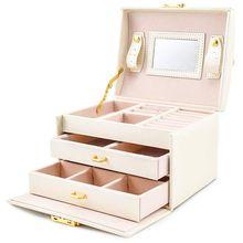 Caja de Herramientas de joyería para pendientes, organizador de almacenamiento de anillos, estuche de belleza para joyería y cosméticos con 2 cajones y 3 capas