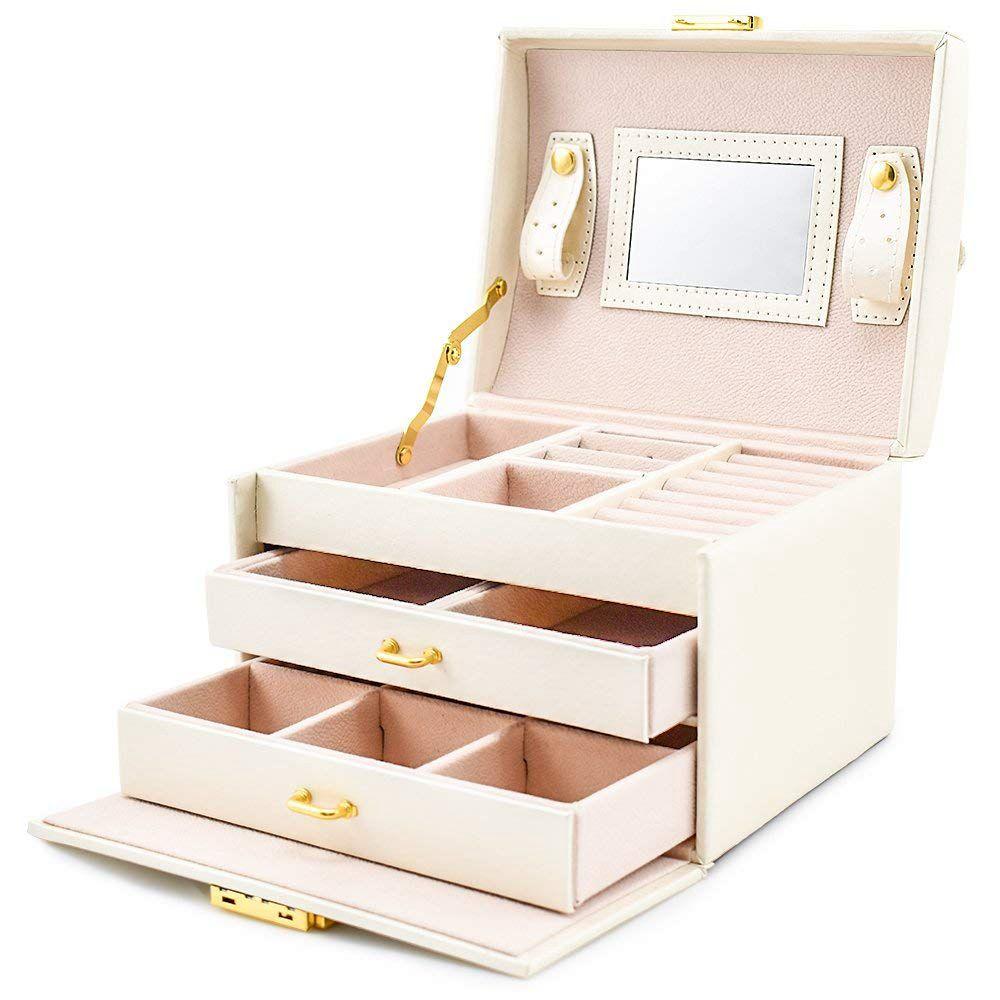 Jóias caixa de ferramentas para brincos anéis organizador de armazenamento jóias e cosméticos beleza caso com 2 gavetas 3 camadas