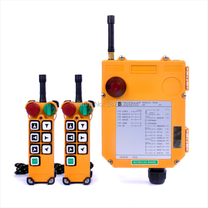 TELECRANE F24-6D (2 Transmitters+1 Receiver) Industrial Wireless Radio Double Speed 6 Buttons F24-6D Remote Control for Crane nice uting ce fcc industrial wireless radio double speed f21 4d remote control 1 transmitter 1 receiver for crane