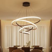 Modern LED 1/2/3/4 Circle Rings Chandeliers Brown White Aluminum Body Chandelier For Living Room Dining room Lampara de techo
