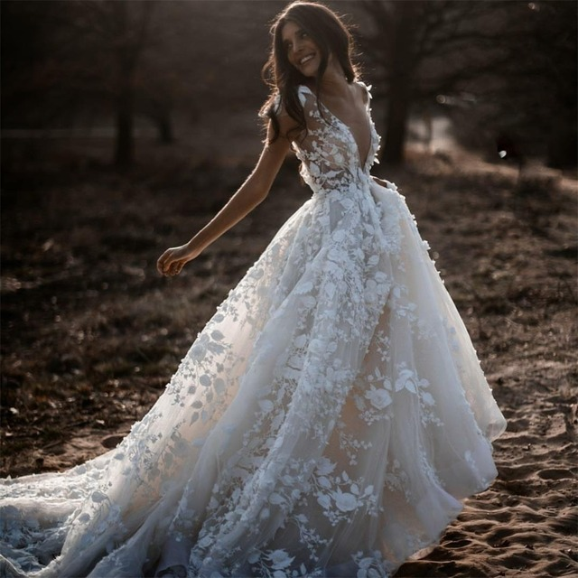 Sexy Bohemian Wedding Dress 2021 Short Sleeves Deep V Neck 3d Floral Appliques Bridal Gowns Backless Vestido De Noiva Lorie 1