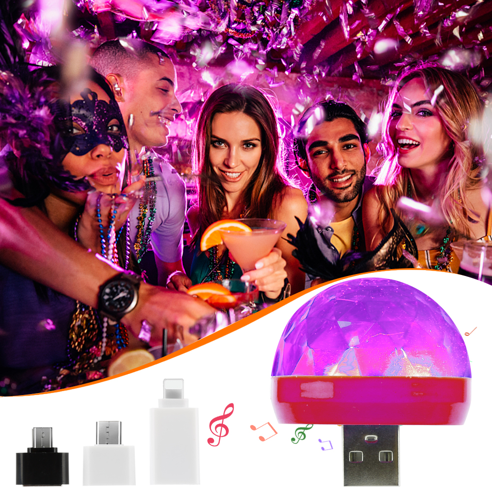 Mini Portable USB Stage Disco Lights Crystal Magic Ball Home Party Decorations Colorful Mobile Phone USB LED Party Light