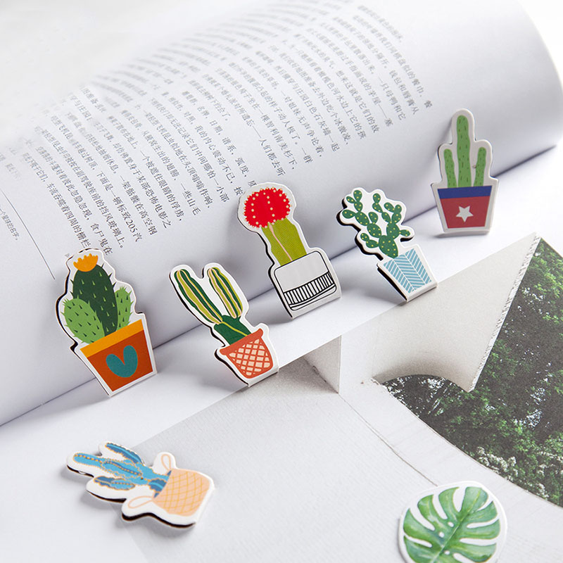 2pcs/lot Green Plants Magnetic Bookmark Kawaii Cactus Book Mark Book Clip Girls Gifts Office School Korean Stationery Supplies