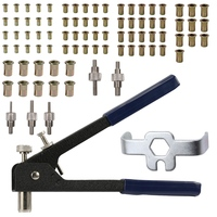 Rivet Tool Threaded Insert Hand Riveting Kit Nuts Riveter Tool Box Set Hand Manual Repair Tools For Auto Rivets Drill Adapter Rivets    -