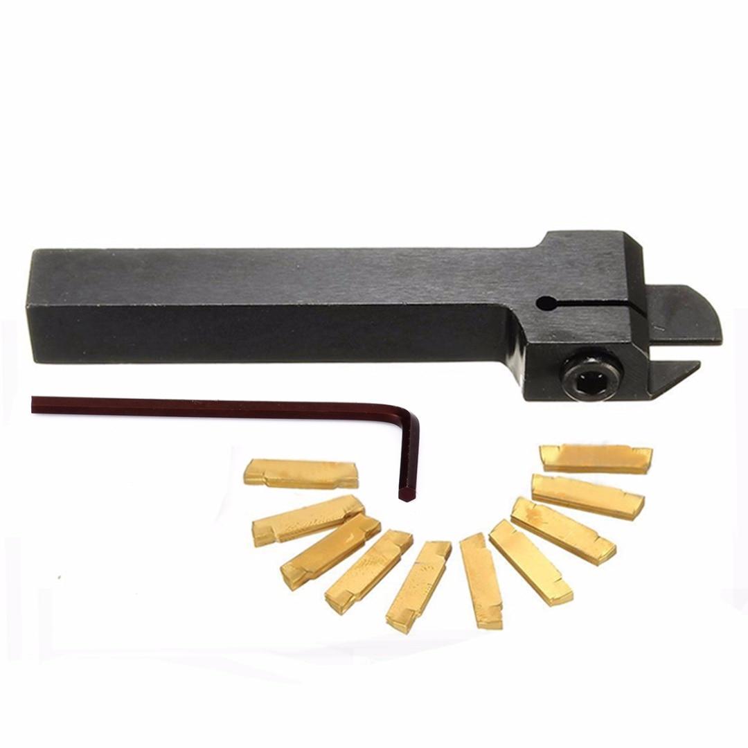 Купить с кэшбэком 10pcs MGMN200-G Carbide Inserts + 1pc MGEHR1212-2 CNC Lathe Turning Tool Holder Boring Bar + 1pc Wrench
