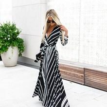 Lace Up Long Dress Women  Long Sleeve Stripe Maxi Dresses Sexy Dress lace up long sleeve two tone dress
