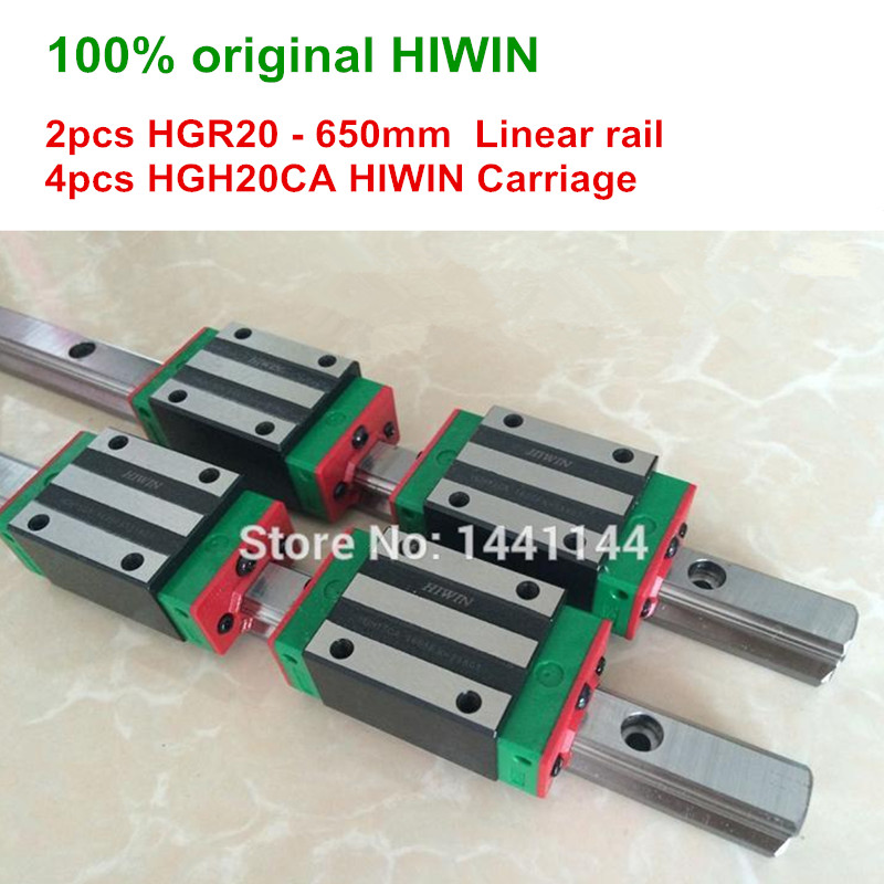 HGR20 HIWIN linear rail: 2pcs 100% original HIWIN rail HGR20 - 650mm Linear rail + 4pcs HGH20CA Carriage CNC parts