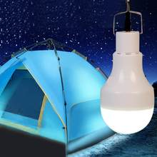 Portable Solar LED Rechargeable Bulb Light Outdoor Camping Yard Button Garden 5W White Lamp 12V(China)