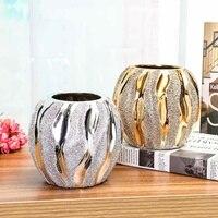 Flower Vase Electroplate Ceramic Plant Flowerpot for Office Room Coffeehouse Silver Gold Modern European Style Home Garden