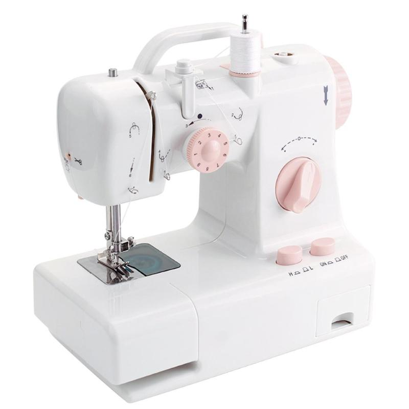 New FHSM-318 Mini Sewing Machine Electric Built-in Light Household Multi-function Crafting Mending Pendal Sewing Machine EU Plug