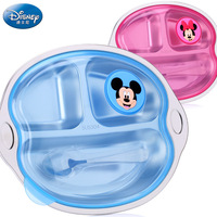Disney children's tableware 3 grid stainless steel plate baby bowl with lid spoon unisex child compartment Baby feeding bowl