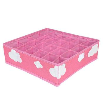 3in1 Pink Grid Pattern Folding Storage Box Underwear Necktie Organizer Box Clothing Organizer Folding Rectangle Modern Non-Woven
