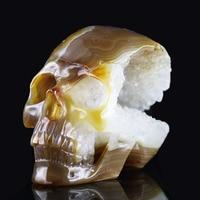 4,94 Большой GEODE Агат ручной резной хрустальный череп Кристалл Реалистичная Кристалл Исцеления меблировки фигурка AC22
