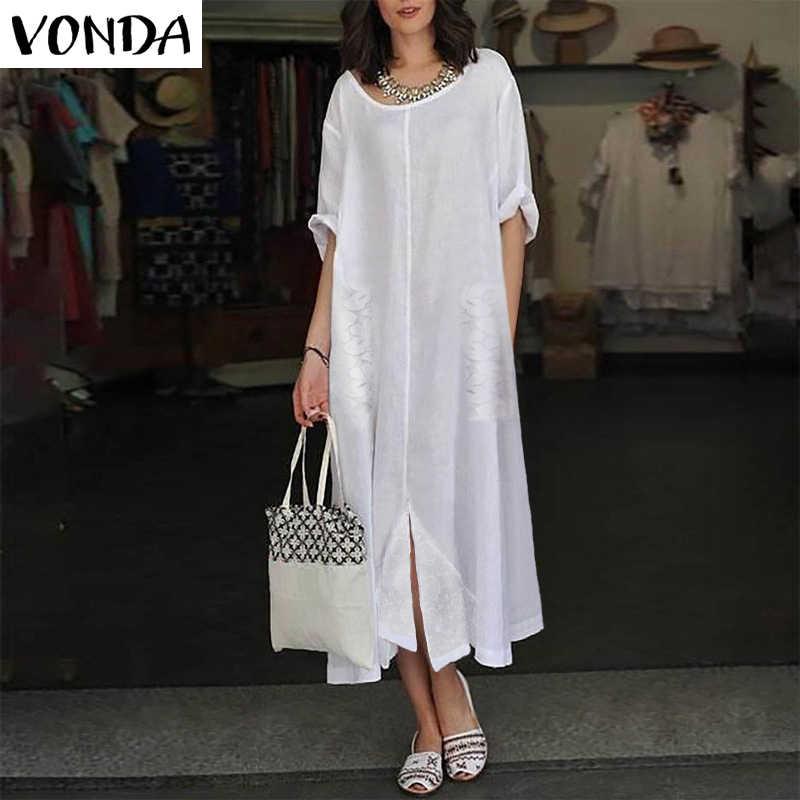61f29b8848 Detail Feedback Questions about Women White Dress 2019 VONDA Autumn ...