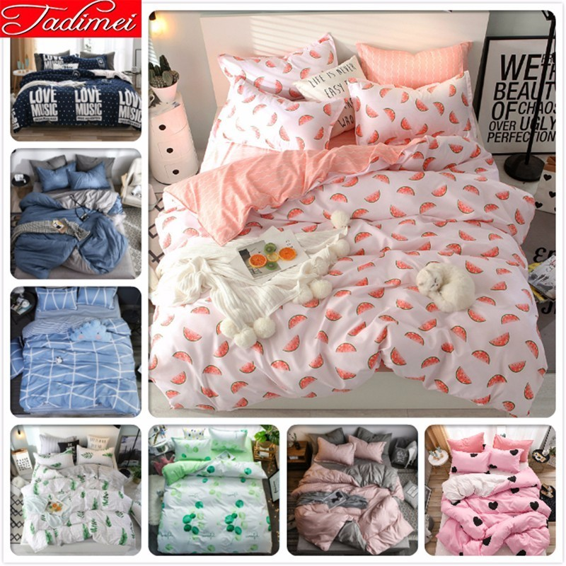 Pink White Duvet Cover Bedding Set Adult Kids Child Soft Cotton Bed Linen Single Twin Full Double Queen King Big Size Bedspreads
