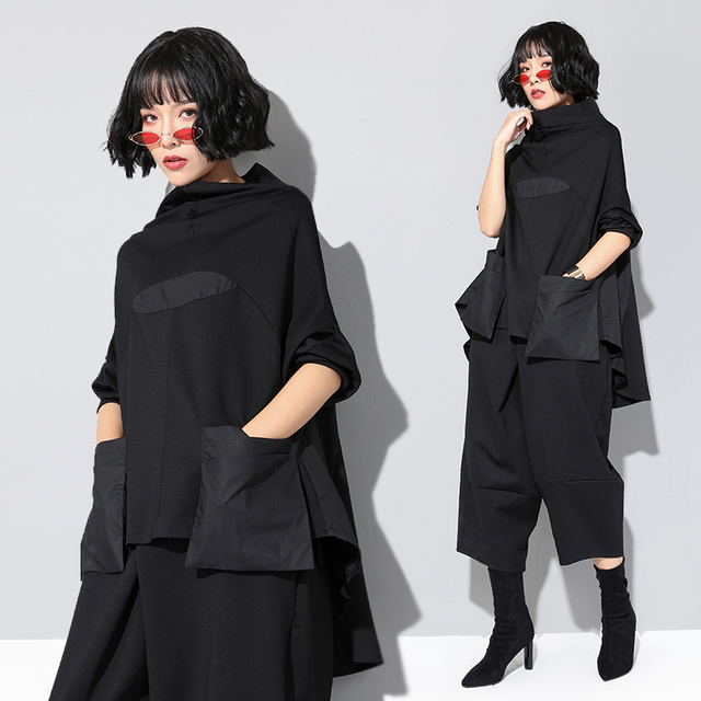 Niskie wysokie projekt czarny z golfem długa bluzka kobiety 2019 wiosna kieszenie patchworkowy Streetwear damskie rękaw w kształcie skrzydła nietoperza bluzka w rozmiarze Plus Size