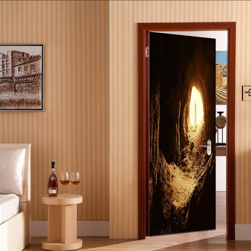 1 Pc Tür Aufkleber Wasserdicht Abnehmbare Selbstklebende Tür Abziehbilder Tapete Tür Wandbild Für Wohnzimmer Küche Bad