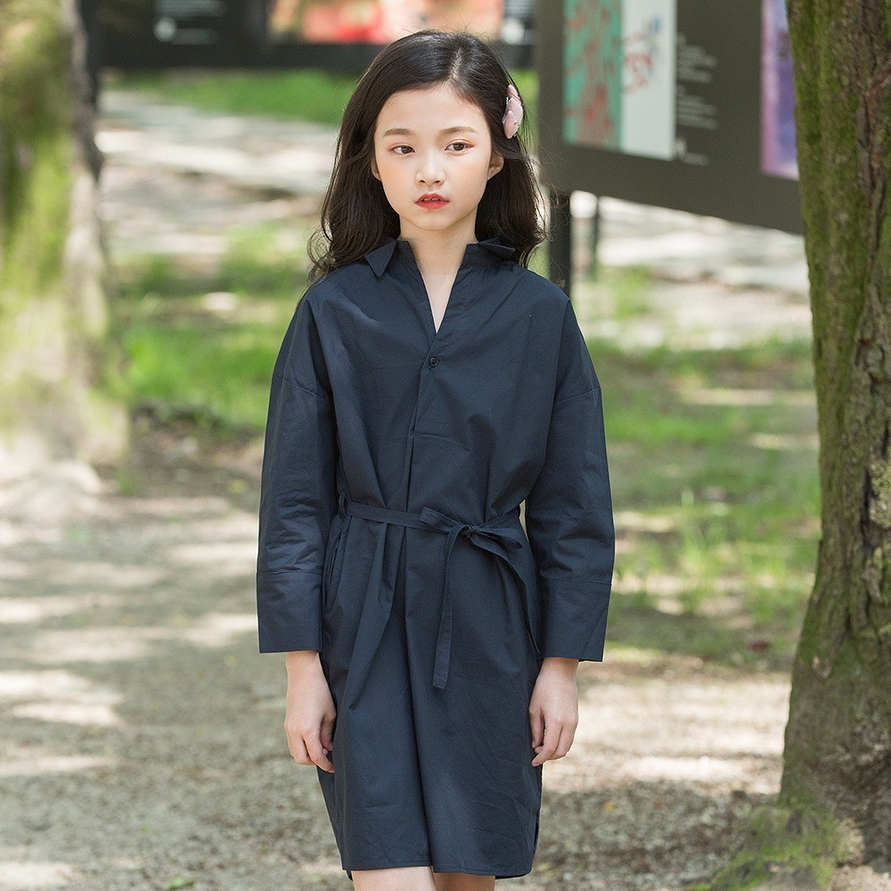 Long shirts autumn dress for girls kids with belt cotton school clothes for kids girls dresses black khaki 2019 new arriveLong shirts autumn dress for girls kids with belt cotton school clothes for kids girls dresses black khaki 2019 new arrive