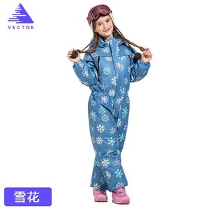 Image 5 - Vector Warm Kids Ski Hooded Suit Snowboard Overall Synthetic Snow Winter Outdoor Waterproof Windproof Boy Girls Skiing Clothes