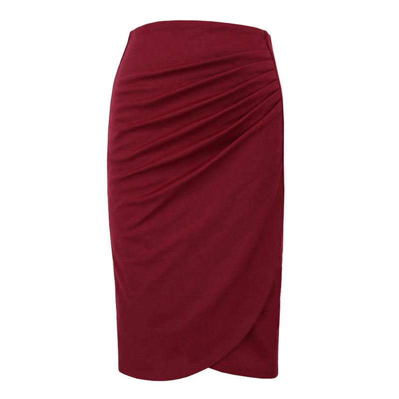 black Skirt burgundy Women 2018 Pure Violet Pencil Plus Red Color New Medium wine Size Irregular 4xl black s violet Summer Crumpled wqtqERgxY