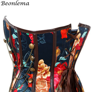 Image 3 - Beonlema Vintage Steampunk Sexy Korse Floral Erotic Women Corset Waist Controlling Push Up Corsets Femme Overbust Punk Bustiers