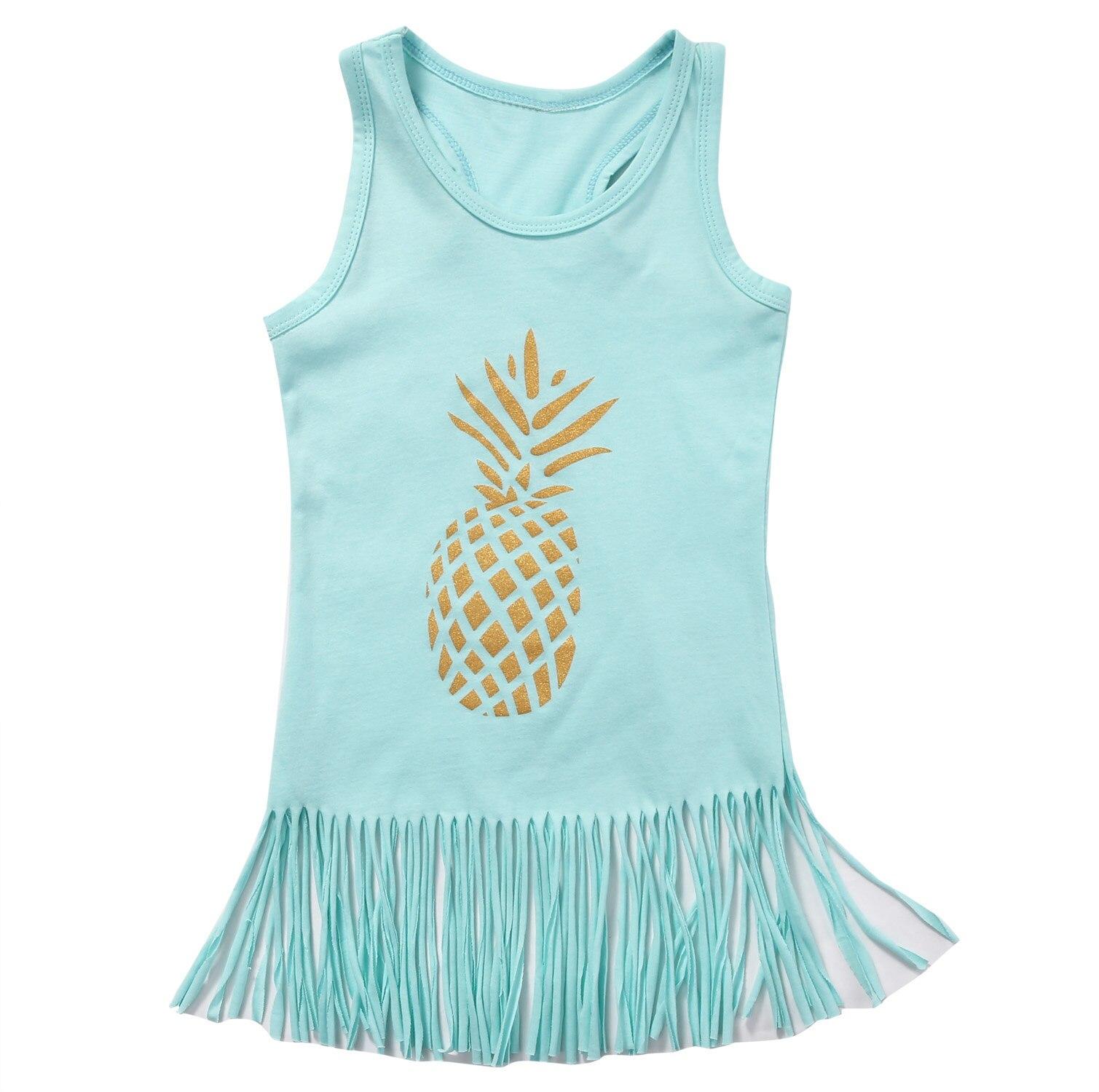 Sleeveless Pineapple Print Tassle Tanks Top For Girls
