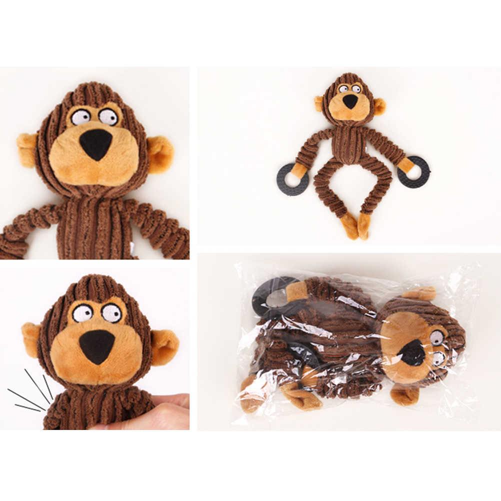 3pcs Morbido Peluche Mucca Divertente Scimmia Orso Animale Domestico Cane Giocattoli di Masticazione Morso Molare Macinazione Del Suono Giocattoli