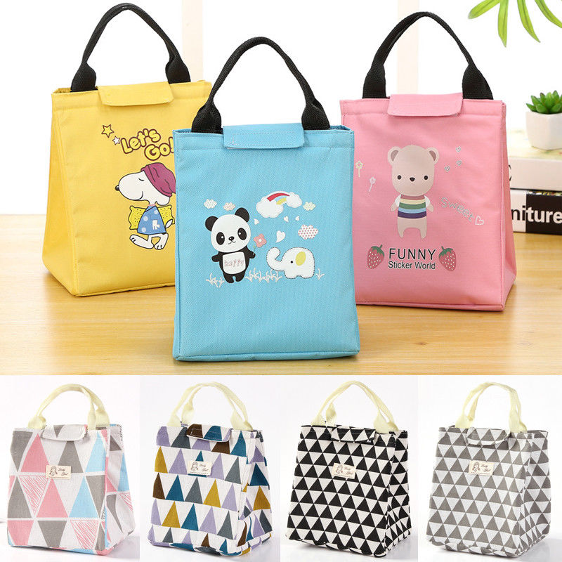 7 Styles Women Kids Men portable Lunch font b Bag b font Tote Insulated Canvas Box