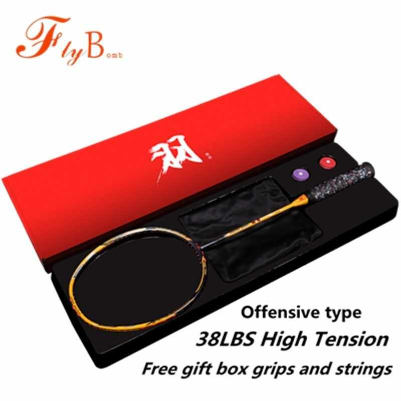 38LBS High Tension Full Carbon Professional Badminton Racquet Attacked Single Racket With Overgrips Strings Gift Box Q1328CME