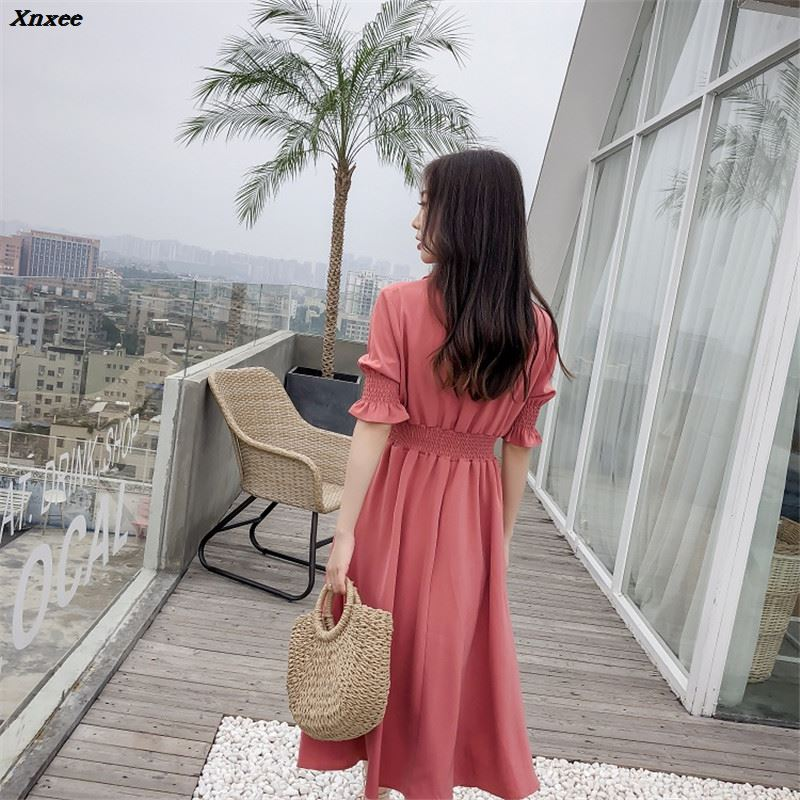 Casual Slim Women Chiffon Dresses Summer Autumn Elegant Sleeve Sleeve High Waist A Line Dress Ladies V Neck Vestido Xnxee in Dresses from Women 39 s Clothing