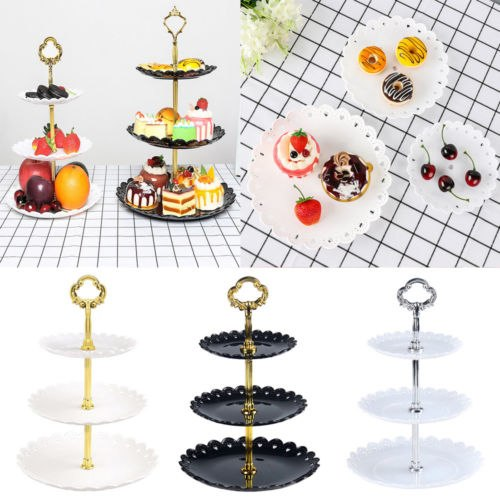 Limit 100 3 Tier Plastic Cake Stand Afternoon Tea Wedding Plates Party Tableware New Bakeware Cake Shop Three Layer Cake Rack(China)