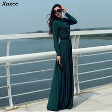 Women Long Sleeve Maxi Dress Autumn New Fashion Collar Buttons Dresses  Female Elegant Tunic Party Robe Green Xnxee