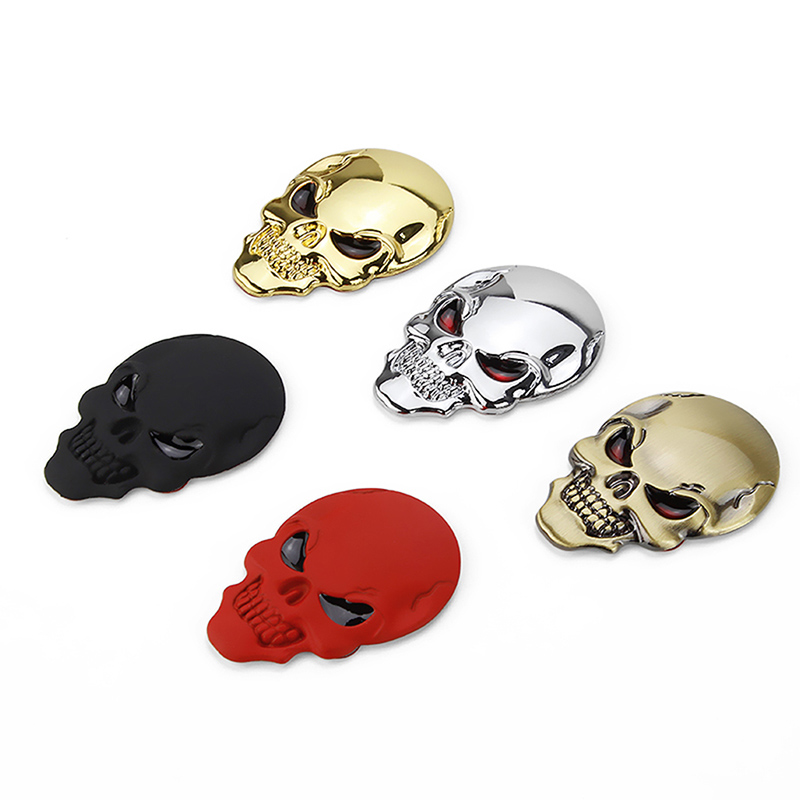 3D Auto Car Decor Sticker Metal Skull Bone Emblem Badge Decal Motorcycle Orament