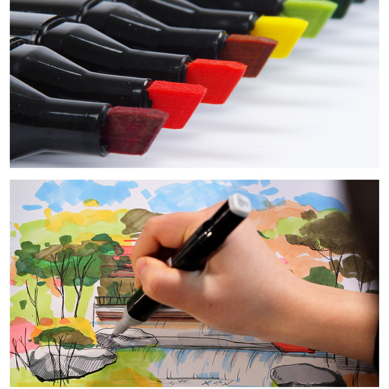 Touchthree Single Art Marker 168 Colors Dual Head Alcohol Based Sketch Markers Brush Pen For Artist Drawing School Art Supplies