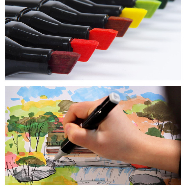 Touchthree Single Art Marker 168 Colors Dual Head Alcohol Based Sketch Markers Brush Pen For Artist Drawing School Art Supplies 2