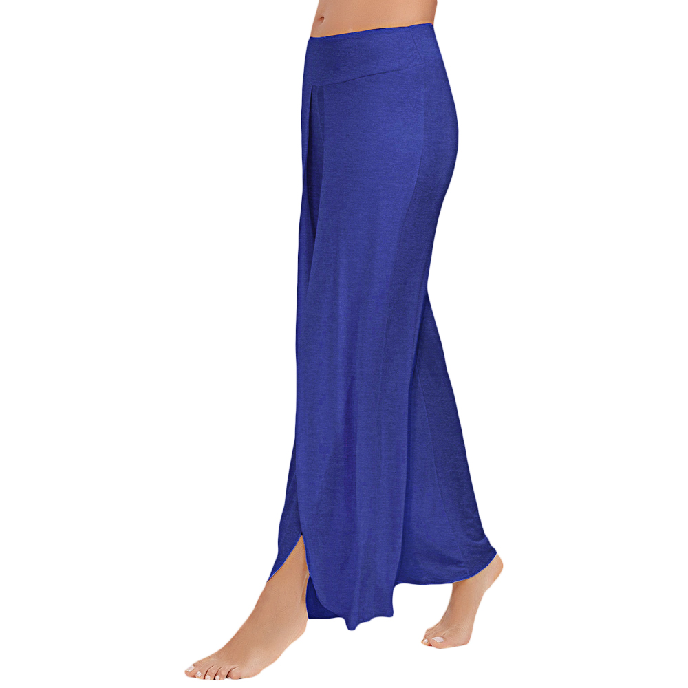 Clearance Plus Size Women Summer Sports   Wide     Leg     Pants   Casual Loose High Slit Palazzo   Pant   Cotton Straight Long Women Trouser