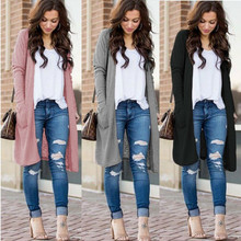 Uguest Casual Knitted Long Cardigan Female Loose Cardigan Knitted Jumper Warm Winter 2019 Solid Sweater Women Cardigan Coat
