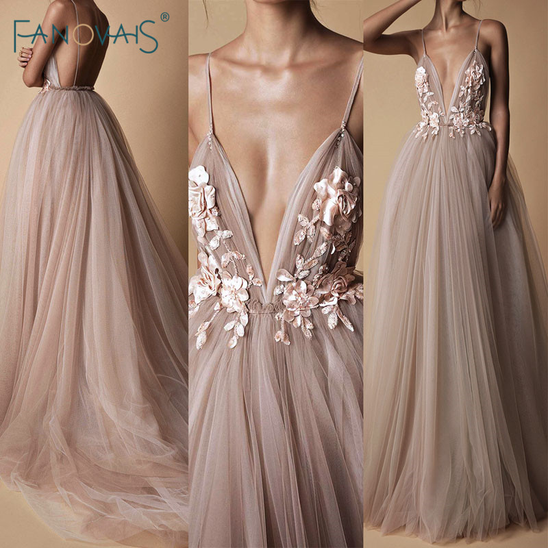 Fashion Evening Dresses Long A-Line Tulle Deep V-Neck Prom Dresses 2019 Lace Flower Beaded Robe de Soiree Evening Party Gown NE7