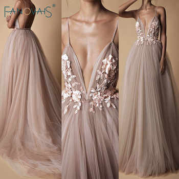 Fashion Evening Dresses Long A-Line Tulle Deep V-Neck Prom Dresses 2019 Lace Flower Beaded Robe de Soiree Evening Party Gown NE7 - DISCOUNT ITEM  30% OFF All Category