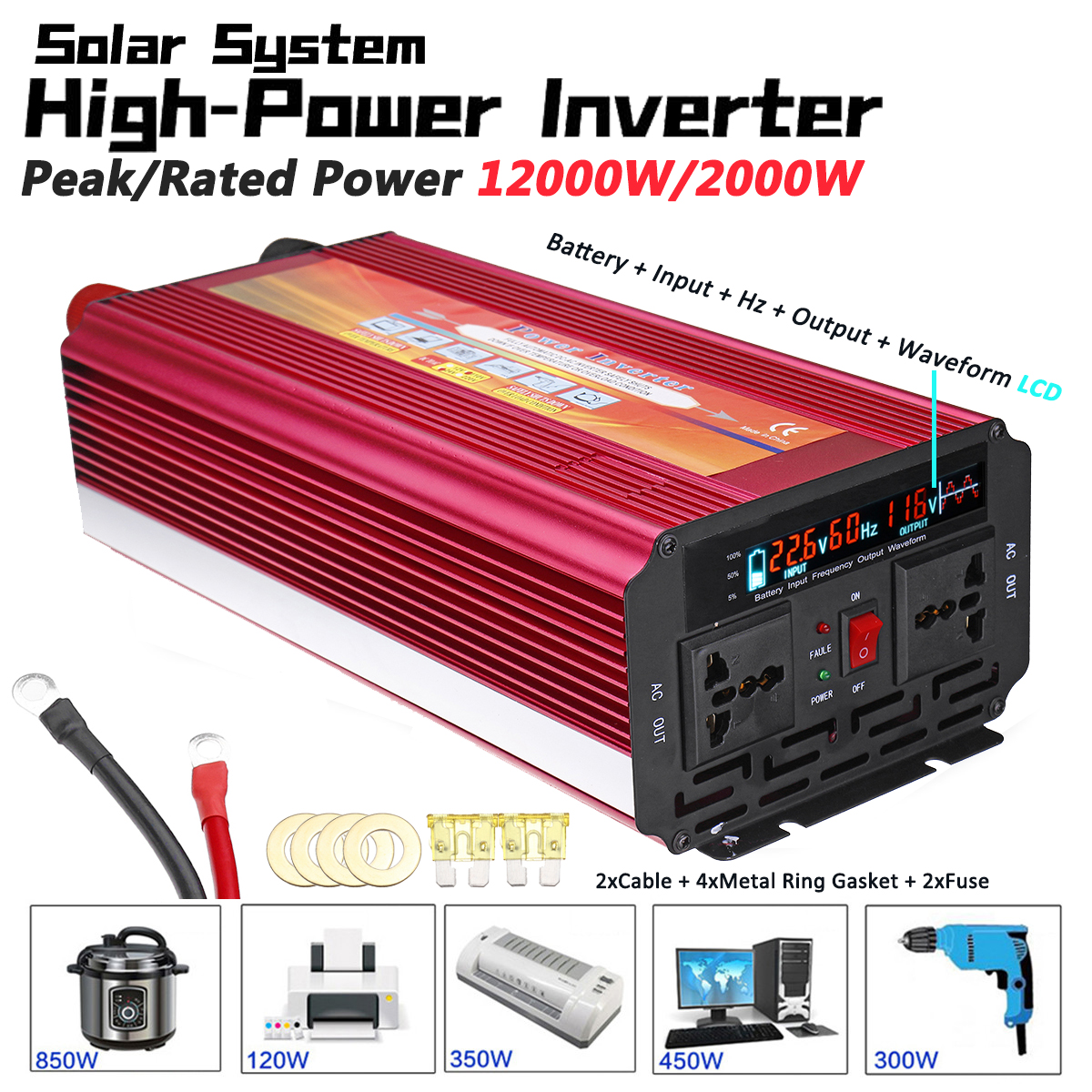 Solar Inverter 12V 220V 12000W P eak Voltage Transformer Converter DC 12V To AC 220V Car Inverter 12V/24V To 110V/220V LCD free shiping1pcs aju c10 10 100 10pcs ccmt060204 dia 10mm insertable bore drilling end mill cutting tools arbor for ccmt060204