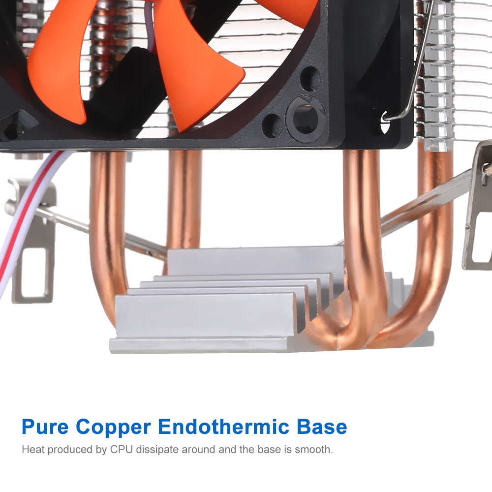 Hidrolik CPU soğutucu ısı borusu fanlar sessiz soğutucu radyatör iki ince bakır ısı boruları Intel Core AMD Sempron platformu