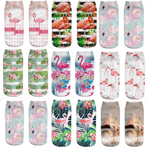 New Women Unisex Casual Cotton 3D Print Flamingo Socks Low Cut Cartoon Socks