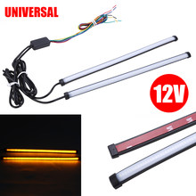 2pcs 29.5cm Motorcycle Turn Signal Light Strip Switchback Turn Signal Brake Car Amber+White LED DRL Brake for Light Accessories(China)